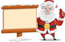 Santa Claus Cartoon Vector Character AKA Mr. Claus North-pole - Choosing the Way in Snow