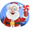 Santa Claus Cartoon Vector Character AKA Mr. Claus North-pole - Christmas Badge Template