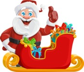 Santa Claus Cartoon Vector Character AKA Mr. Claus North-pole - Christmas Sleigh