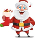 Santa Claus Cartoon Vector Character AKA Mr. Claus North-pole - With Christmas Sock