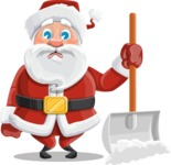 Santa Claus Cartoon Vector Character AKA Mr. Claus North-pole - Cleaning the Snow