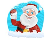 Santa Claus Cartoon Vector Character AKA Mr. Claus North-pole - Cristmas Sticker Template