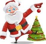 Santa Claus Cartoon Vector Character AKA Mr. Claus North-pole - Decorating Christmas Tree