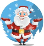 Santa Claus Cartoon Vector Character AKA Mr. Claus North-pole - Enjoying Snowing Concept