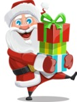 Santa Claus Cartoon Vector Character AKA Mr. Claus North-pole - Giving Christmas Presents