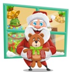 Santa Claus Cartoon Vector Character AKA Mr. Claus North-pole - Going to House with Gifts Illustration