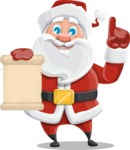 Santa Claus Cartoon Vector Character AKA Mr. Claus North-pole - Holding a Blank Scroll