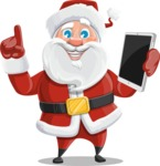 Santa Claus Cartoon Vector Character AKA Mr. Claus North-pole - Holding a New Tablet