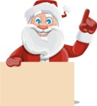 Santa Claus Cartoon Vector Character AKA Mr. Claus North-pole - Holding Blank Presentation Sign
