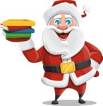Santa Claus Cartoon Vector Character AKA Mr. Claus North-pole - Holding Books