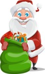 Santa Claus Cartoon Vector Character AKA Mr. Claus North-pole - Holding Christmas Sack with Gifts