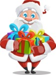 Santa Claus Cartoon Vector Character AKA Mr. Claus North-pole - Holding Presents
