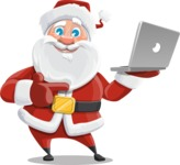 Santa Claus Cartoon Vector Character AKA Mr. Claus North-pole - Holsing a Laptop Present