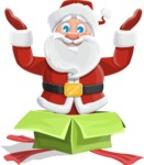 Santa Claus Cartoon Vector Character AKA Mr. Claus North-pole - popping out of a Christmas Box