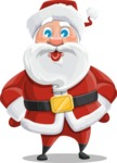 Santa Claus Cartoon Vector Character AKA Mr. Claus North-pole - Making a Funny Face