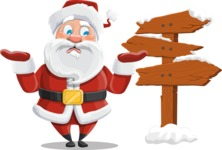 Santa Claus Cartoon Vector Character AKA Mr. Claus North-pole - Making a Presentation on a Christmas Board