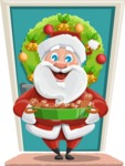 Santa Claus Cartoon Vector Character AKA Mr. Claus North-pole - On a House Door Illustration