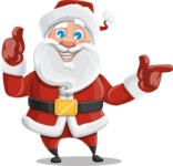 Santa Claus Cartoon Vector Character AKA Mr. Claus North-pole - Pointing and Making Thumbs Up