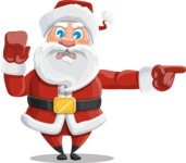 Santa Claus Cartoon Vector Character AKA Mr. Claus North-pole - Pointing with a Finger