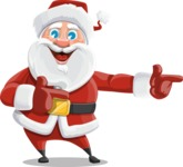 Santa Claus Cartoon Vector Character AKA Mr. Claus North-pole - Pointing with Hands