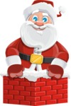 Santa Claus Cartoon Vector Character AKA Mr. Claus North-pole - Popping out of a Chimney