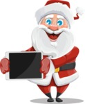 Santa Claus Cartoon Vector Character AKA Mr. Claus North-pole - Presenting a Tablet