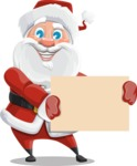 Santa Claus Cartoon Vector Character AKA Mr. Claus North-pole - Presenting on a Blank Sign Template