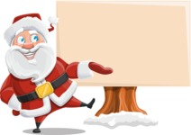 Santa Claus Cartoon Vector Character AKA Mr. Claus North-pole - Presenting on a Blank Whiteboard for Christmas