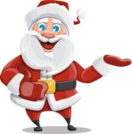 Santa Claus Cartoon Vector Character AKA Mr. Claus North-pole - Presenting with Both Hands