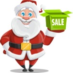 Santa Claus Cartoon Vector Character AKA Mr. Claus North-pole - Shopping for Gifts
