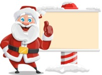 Santa Claus Cartoon Vector Character AKA Mr. Claus North-pole - Showing a Blank Christmas Sign