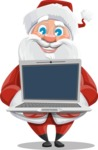 Santa Claus Cartoon Vector Character AKA Mr. Claus North-pole - Showing a Laptop