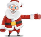Santa Claus Cartoon Vector Character AKA Mr. Claus North-pole - Showing with a Hand