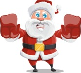 Santa Claus Cartoon Vector Character AKA Mr. Claus North-pole - Stopping with Hands