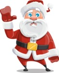 Santa Claus Cartoon Vector Character AKA Mr. Claus North-pole - Waving for Goodbye with a Hand