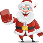 Santa Claus Cartoon Vector Character AKA Mr. Claus North-pole - Waving for Welcome with a Hand