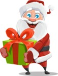 Santa Claus Cartoon Vector Character AKA Mr. Claus North-pole - With a Big Christmas Present