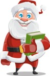Santa Claus Cartoon Vector Character AKA Mr. Claus North-pole - With a Book