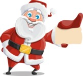 Santa Claus Cartoon Vector Character AKA Mr. Claus North-pole - With a Business Card