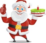 Santa Claus Cartoon Vector Character AKA Mr. Claus North-pole - With a Cake for Christmas
