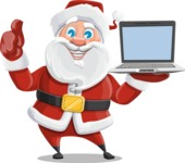 Santa Claus Cartoon Vector Character AKA Mr. Claus North-pole - With a Computer