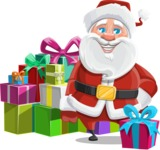 Santa Claus Cartoon Vector Character AKA Mr. Claus North-pole - With a Lot of Presents