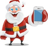 Santa Claus Cartoon Vector Character AKA Mr. Claus North-pole - With a Mobile Phone