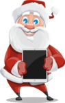 Santa Claus Cartoon Vector Character AKA Mr. Claus North-pole - With a Tablet