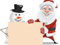 Santa Claus Cartoon Vector Character AKA Mr. Claus North-pole - With Blank Sign on Christmas Theme
