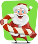 Santa Claus Cartoon Vector Character AKA Mr. Claus North-pole - With Candy Cane on Flat Background Illustration