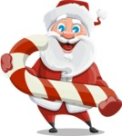 Santa Claus Cartoon Vector Character AKA Mr. Claus North-pole - With Candy Cane