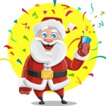 Santa Claus Cartoon Vector Character AKA Mr. Claus North-pole - With Celebrating Background with Confetti