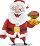 Santa Claus Cartoon Vector Character AKA Mr. Claus North-pole - With Christmas Decoration - Christmas Bells