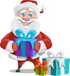Santa Claus Cartoon Vector Character AKA Mr. Claus North-pole - With Christmas Gifts
